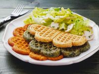 Assorted Savory Waffles with Salad recipe