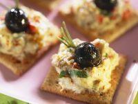 Aubergine Cream, Crackers and Olives recipe