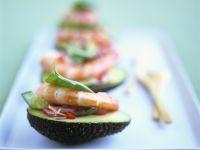 Avocado with Shrimp and Cucumber Salad recipe