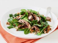 Baby Spinach Salad with Lentils and Grilled Lamb