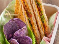 Bacon, Cheddar and Arugula Sandwiches with Purple Potato Chips recipe