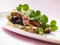 Bacon, Plum and Flaxseed Toasts recipe