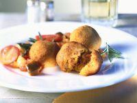 Bacon-stuffed Fried Dumplings with Vegetables recipe