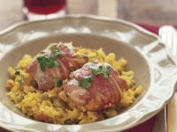 Bacon-Wrapped Chicken Thighs with Saffron Rice recipe