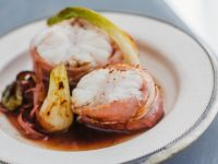 Bacon-Wrapped Monkfish with Vegetables recipe