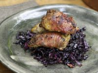 Bacon-Wrapped Partridges Breast with Braised Red Cabbage recipe