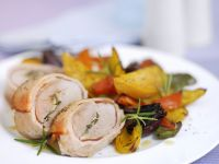 Bacon-Wrapped Pork Tenderloin with Mixed Vegetables recipe
