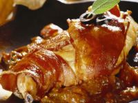 Bacon-wrapped Rabbit with Tomato Sauce recipe