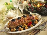 Bacon-wrapped Roast Beef with Shallot Prune Sauce recipe