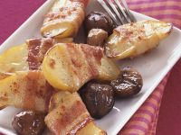 Bacon-wrapped Sweet Potatoes with Chestnuts recipe