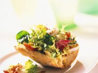 Baguette Topped with Salad recipe