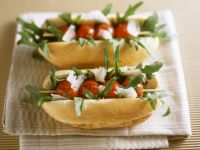 Baguette with Broiled Tomatoes, Arugula, and Parmesan recipe