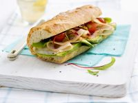 Baguette with Smoked Turkey Breast and Avocado recipe