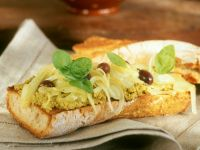 Baguette with Tapenade, Olives and Onions recipe