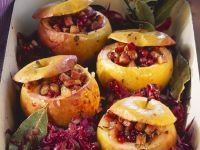 Baked Apples on Red Cabbage