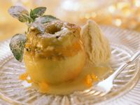 Baked Apples with Marzipan Filling and Ice Cream recipe