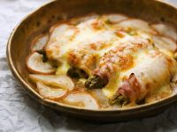 Baked Asparagus and Ham Roll-Ups with Potatoes recipe