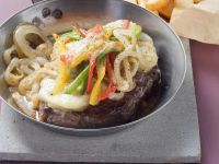 Baked Beef Steak with Peppers and Onions recipe