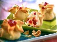 Baked Camembert Parcels with Pear and Lingonberries recipe