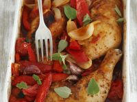 Baked Chicken Legs with Peppers and Tomatoes recipe