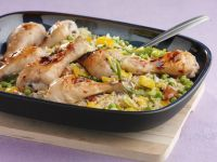 Baked Citrus Chicken with Rice Pilaf recipe