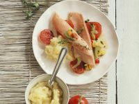 Baked Fish and Tomatoes on Mashed Potatoes recipe