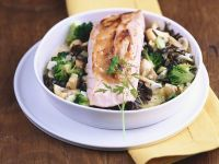 Baked Fish with Nuts and Broccoli recipe