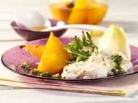 Baked Goat Cheese with Arugula, Saffron Pears and Pesto recipe