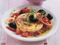 Baked Goat Cheese with Olives and Tomatoes recipe