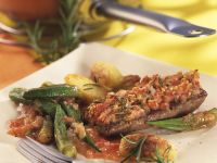 Baked Lamb Loin with Tomatoes and Okra recipe