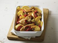Baked Lemon Chicken with Peppers and Potatoes recipe