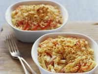 Baked Macaroni with Ham and Tomatoes recipe