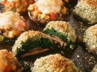 Baked Mushrooms with Two Types of Stuffings recipe