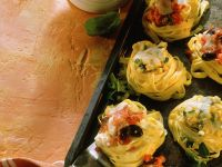 Baked Pasta Nests with Zucchini, Tomato and Salami recipe