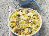 Baked Pasta with Mushrooms, Eggs and Cheese recipe