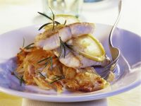 Baked Perch Fillets with Rosemary and Potato Gratin recipe
