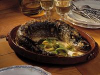 Baked Pike with White Wine Cream Sauce