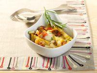 Baked Polenta with Mozzarella and Vegetables recipe