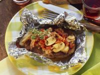 Baked Pork Cutlets with Mushrooms and Tomatoes recipe
