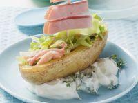 Baked Potato Boat with Herb-Quark Dip recipe