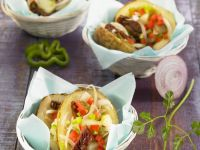 Baked Potato Halves with Topping recipe