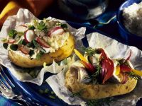Baked Potatoes with Cottage Cheese and Herring recipe