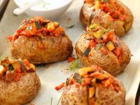 Baked Potatoes with Meat and Vegetable Stew recipe