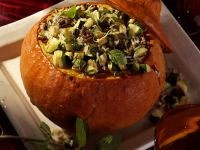 Baked Pumpkin Stuffed with Savory Rice and Ground Beef Filling recipe