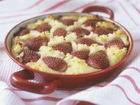 Baked Rice Pudding with Strawberries and Rum recipe
