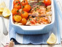 Baked Salmon Trout with Spiced Roasted Potatoes recipe