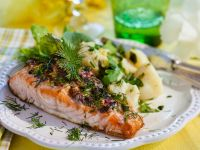 Baked Salmon with Potatoes and Arugula