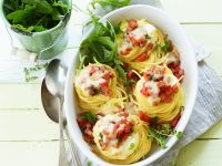 Baked Spaghetti Nests with Bacon and Cheese recipe