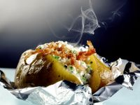 Baked Sweet Potatoes Stuffed with Cheese and Bacon recipe