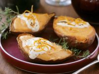 Salt-baked Potato Halves with Topping recipe